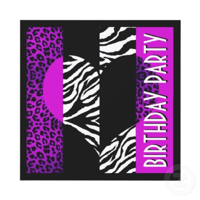Animal Print Purple Leopard Black and White Zebra Invitations